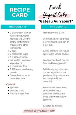 French Yogurt Cake Printable