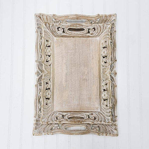 Wisteria Mangowood Hand-Carved Tray - Distressed Ivory Over Natural