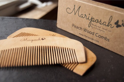 Peach Wood Combs - Sustainable & Biodegradable. Mental Alchemy Wellness Grooming