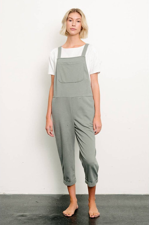 OLIVE BRUSHED ORGANIC HEMP Relaxed Fit Overall by Fabina