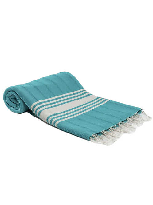 TURQUOISE Antique Handmade Cotton Fringed Turkish Towel by Mediterien Deep