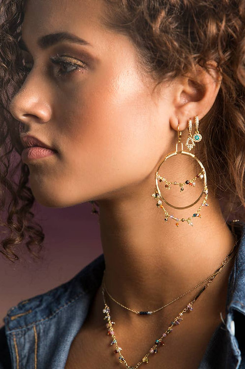 Spirit Huggie Earring (Single). Gemstone + Charm Earring