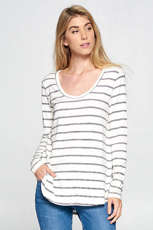 Bamboo Long Sleeve Striped Tunic Top - 3 Colours by R