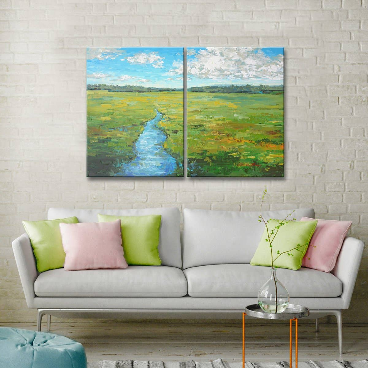 'Field Day' 2-Pc Wrapped Canvas Coastal
