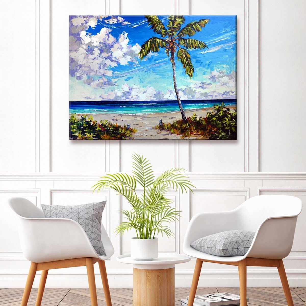 'Big Palm Beach' Wrapped Canvas Coastal