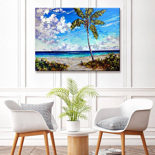 'Big Palm Beach' Wrapped Canvas Coastal Wall Art