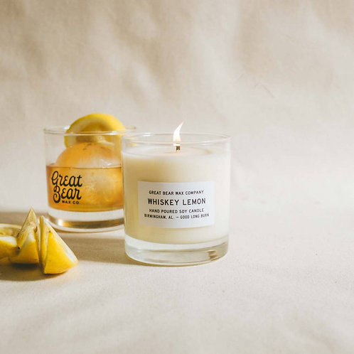 Whiskey Lemon Soy Wax Candle 11 oz. Great Bear Wax Co.