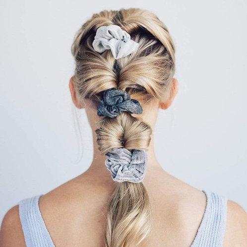 VELVET SCRUNCHIES in BLACK/GRAY. Hair Accessories.