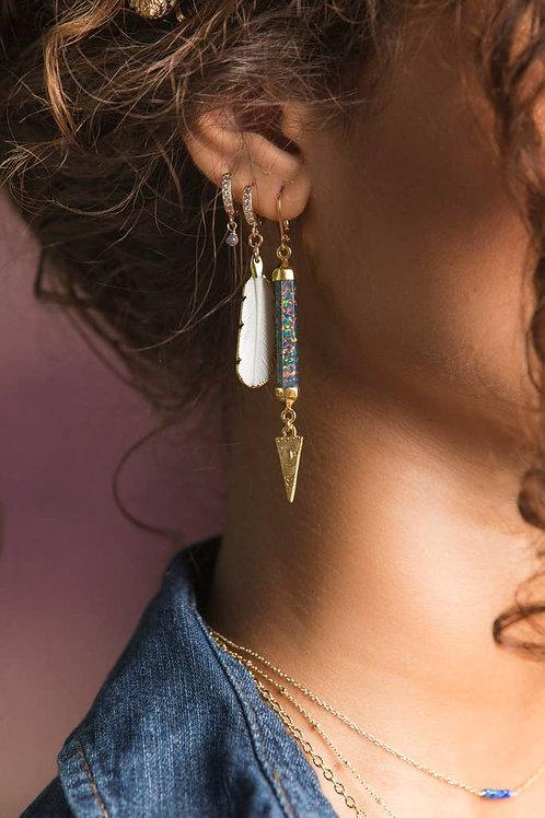 Indigo Fire Opal + 14k Gold Drop Charm Genuine Gemstone Earrings
