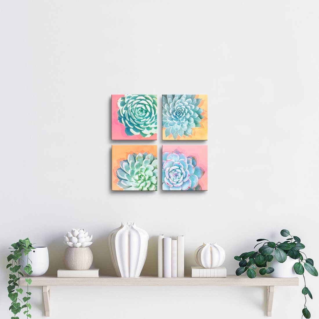 'Awakened' Wrapped Canvas Succulent Wall