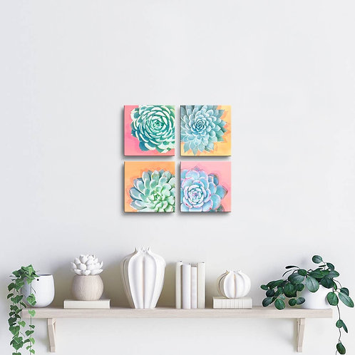 'Awakened' Wrapped Canvas Succulent Wall Art Set