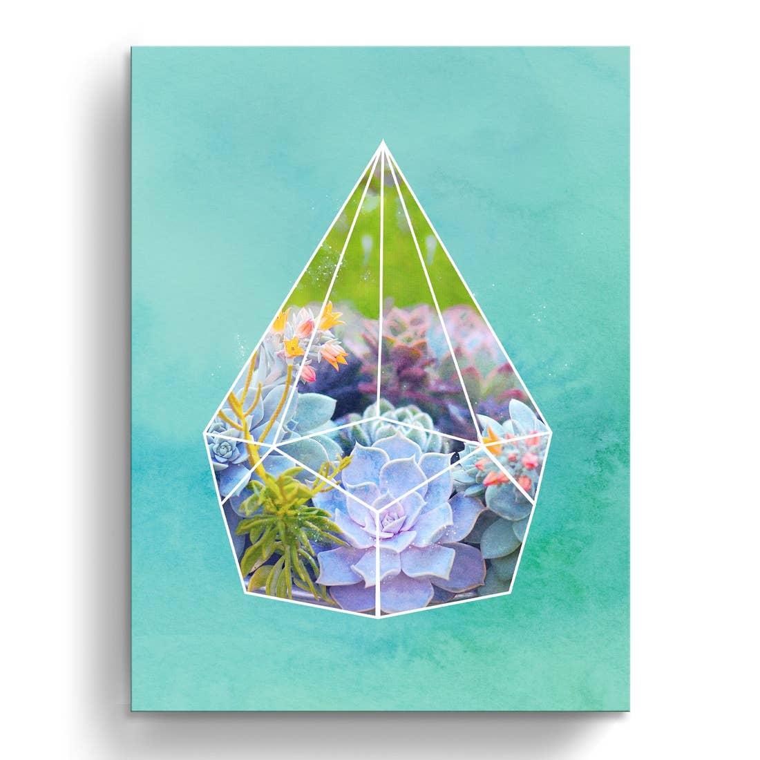 'Terrarium Bloom' Wrapped Canvas Succule