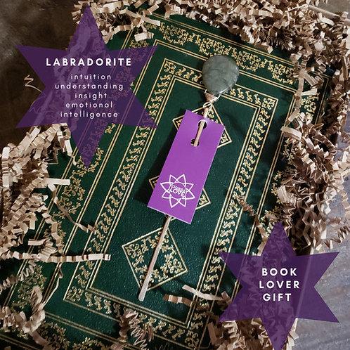 Labradorite Love Gemstone Bookmark. Forged Finds With Genuine Gemstones