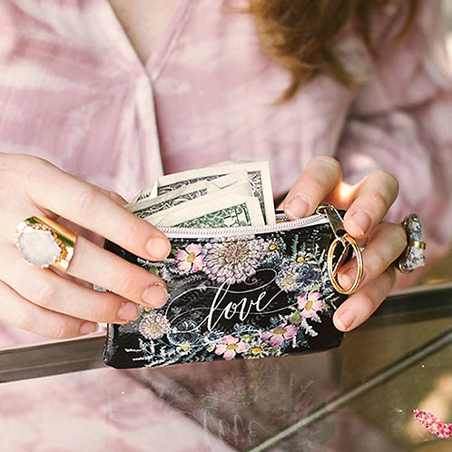 LOVE SEEDS Pouch with Lotus Keyring. Eco-Friendly