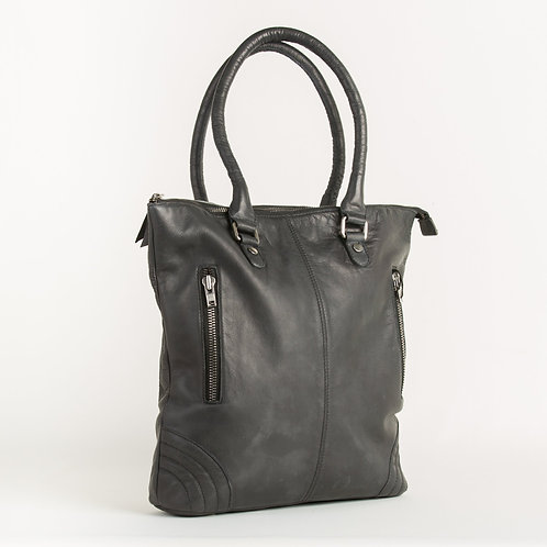 Black Leather Tote Bag + Free KN95 Protective Face Mask