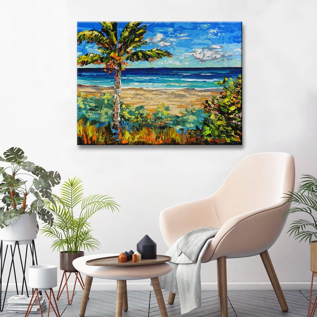 'Sugar Beach' Wrapped Canvas Coastal Wal