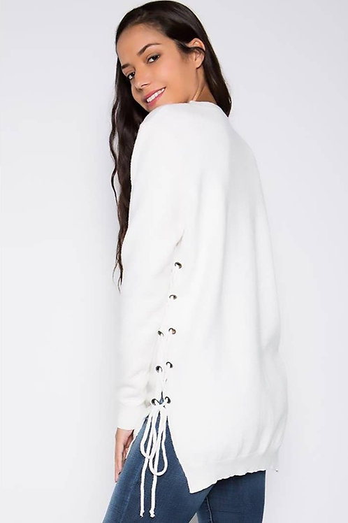 WHITE Long Knit Sweater With Tie Up Detail by Renee C.