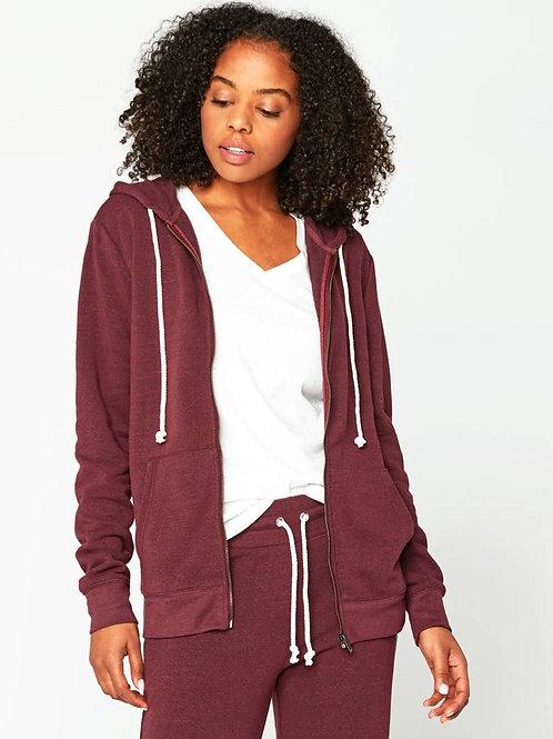 MAROON RUST Ultra Comfy Triblend Fleece Zip Hoodie Eco-Threads