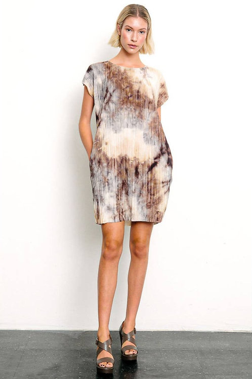 PLEATED TIE DYE OVERSIZED TUNIC DRESS by Studio Ko.