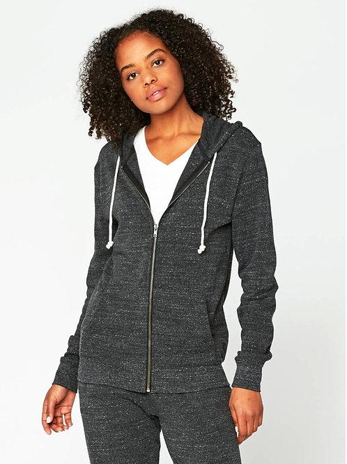 CHARCOAL HEATHER Ultra Comfy Triblend Fleece Zip Hoodie Eco-Threads
