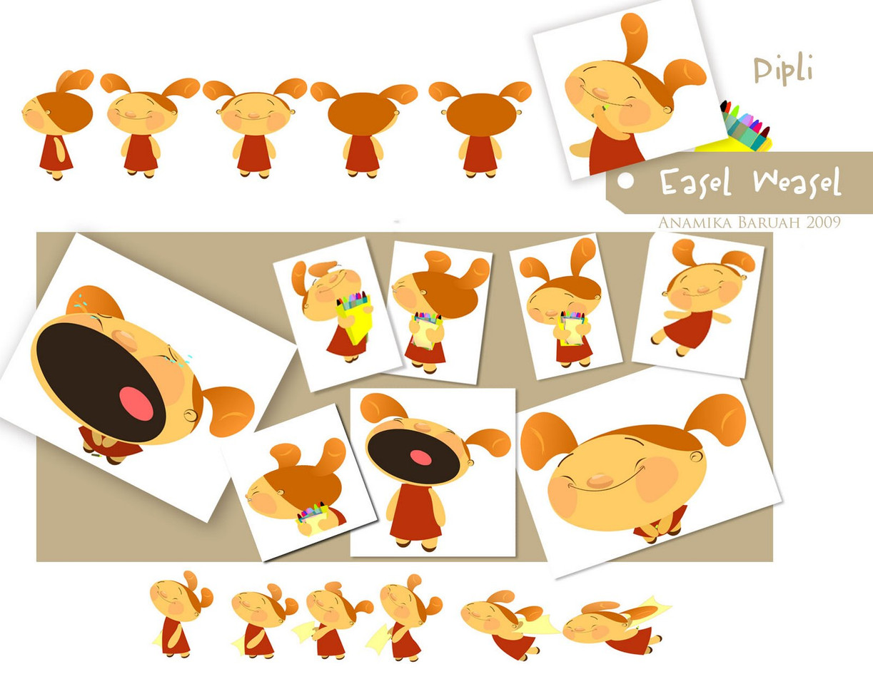 Character Design - Pipli for  Student Film- Easel Weasel