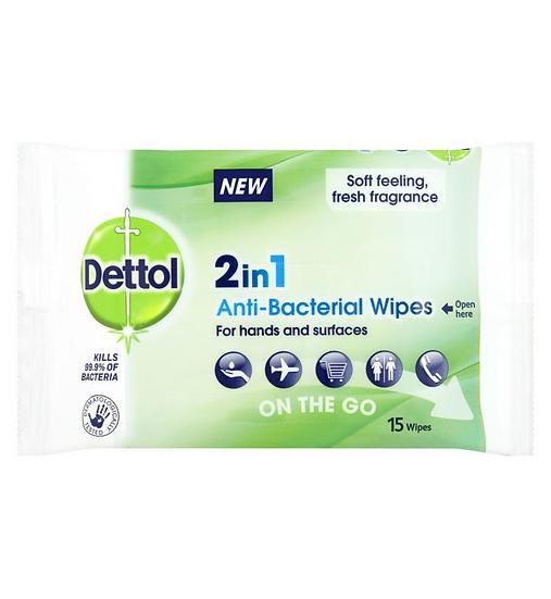 Dettol 2 in 1 Antibacterial Wipes