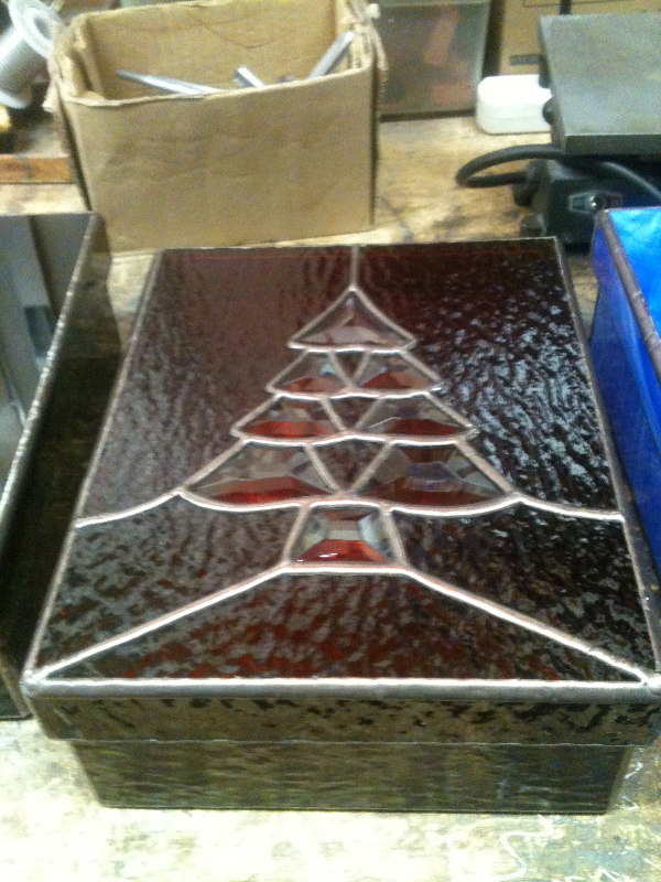 Beveled Christmas Tree Red Box