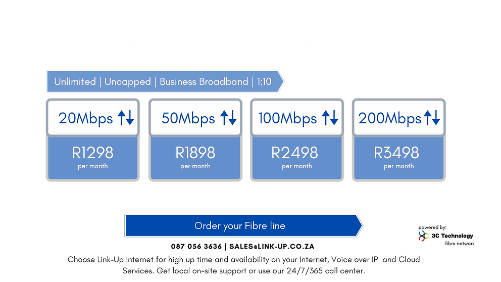 Fibre to your home or office at Umhlanga Arch