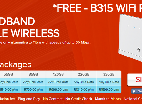 LTE-A with FREE B315 WiFi Router and FREE Delivery. Offer valid till 5 March 2018.