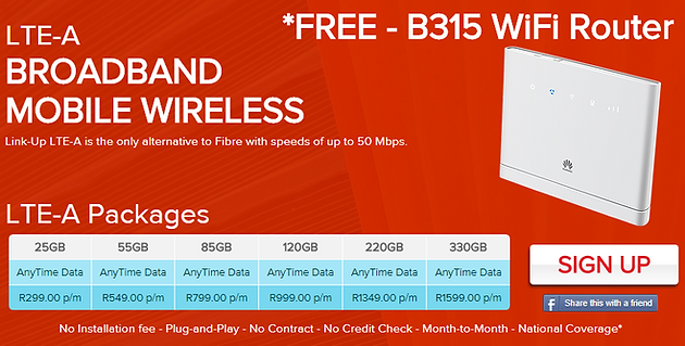 LTE-A with FREE B315 WiFi Router and FREE Delivery  Offer valid till