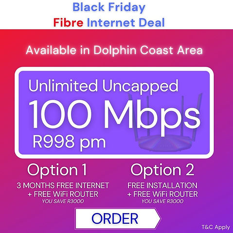 Black Friday Deals | Fibre Internet | Wireless Internet | Vryheid, Ballito, Dundee, Salt Rock
