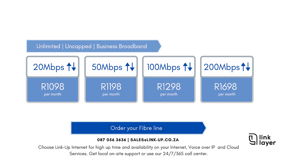 Link-Up Fibre is Unlimited and Uncapped with no Fair Use. With Free Router and VoIP. Available in Ballito, Salt Rock, Sheffield Beach, Shakas Rock, Umhlali, Westbrook | 24/7 Support | Best Network | More Choice | Month-to-Month