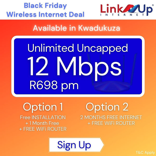 Black Friday | Kwadukuza | Wireless Internet | Stanger