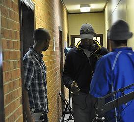 Filmmaker Chris Donaldson with crew memb