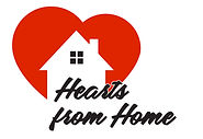"A red, white and black logo reading ""Hearts from Home""."