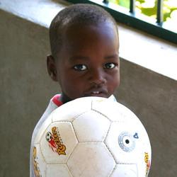 Soccer ball for a Haitian boy.