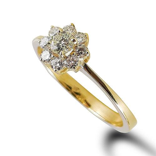 טבעת יהלומים בזהב צהוב 0.43 קראט יהלומים