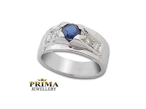 טבעת יהלומים וספיר לגבר