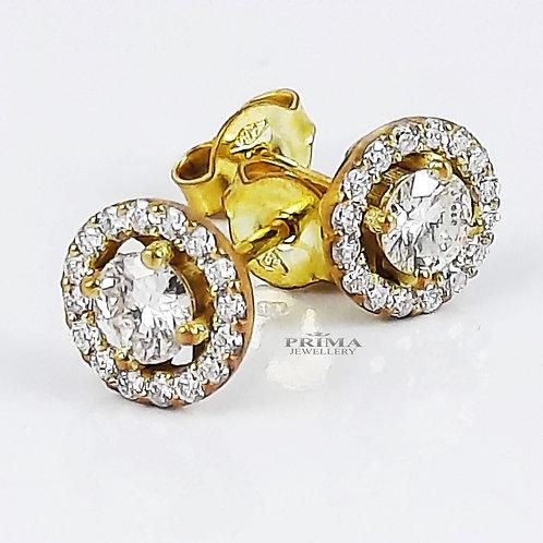 עגילי יהלום צמודים עם אבן מרכזית ויהלומים קטנים דגם האלו