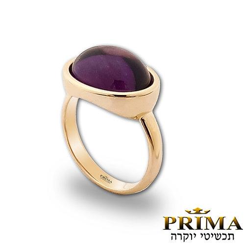 טבעת אמטיסט יוקרתית בזהב צהוב