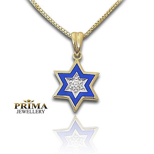 שרשרת מגן דוד בזהב צהוב משובצת יהלום ובציפוי אמאייל כחול