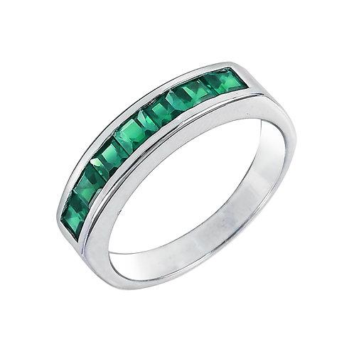 טבעת אמרלד בזהב לבן 14K, טבעת פס אבני חן לאישה