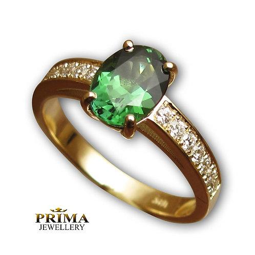 טבעת טורמלין ויהלומים