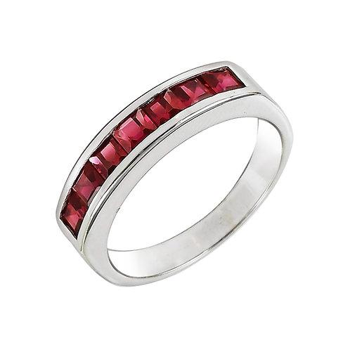 טבעת רובי בזהב לבן 14K, טבעת פס אבני חן לאישה