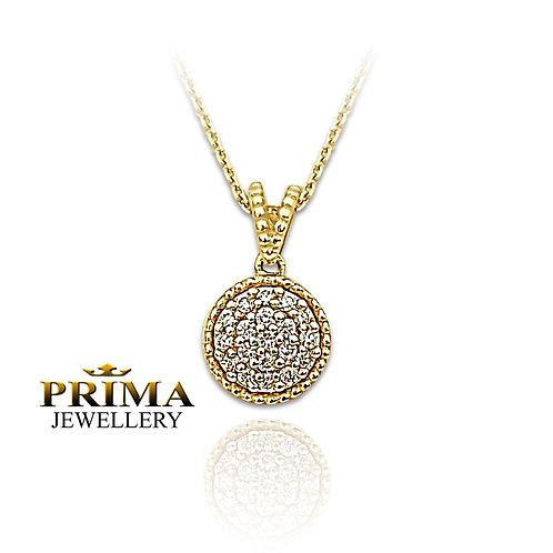 שרשרת זהב עם תליון עגול משובץ יהלומים