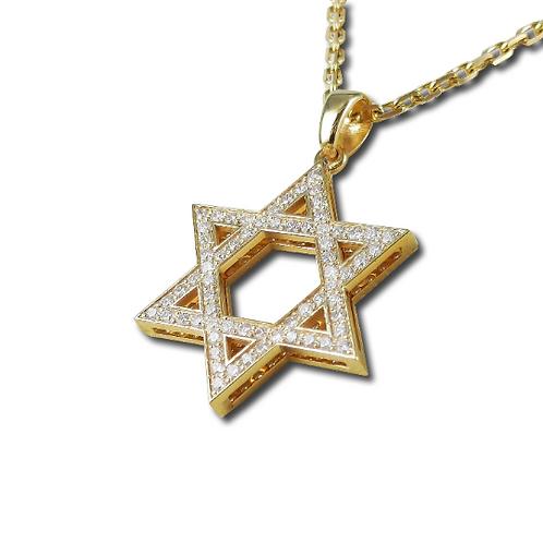 שרשרת מגן דוד בזהב צהוב משובץ יהלומים