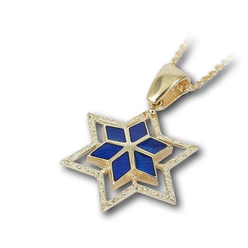 שרשרת ותליון מגן דוד בזהב צהוב ואמייל כחול