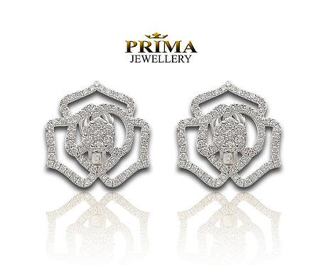 עגילי זהב לבן פרח משובצים יהלומים, עגילים צמודים יוקרתיים