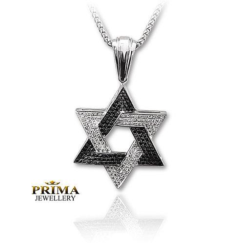 שרשרת מגן דוד זהב לבן ויהלומים שחורים לגבר