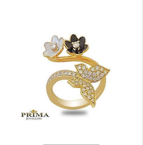 טבעת פרפר ופרחים מזהב צהוב יהלומים ועיטורי אמאייל